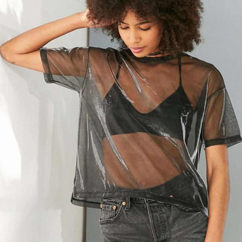 Camiseta de malla Sexy de verano para mujer, camisa de manga corta, cuello redondo, camisetas sueltas transparentes para mujer, camisetas huecas