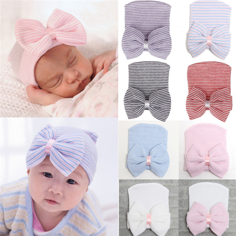 Newborn Girl Flower Bowknot Stripe Beanie Pink