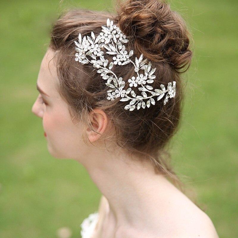 Silver Leaf Bridal Hair Accessories Wedding Headpiece Hair Jewelry Crown Bride Headband Hair Ornaments Crystal Hairpins