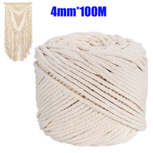 Durable 2/3/4/5/6mm Cotton Macrame Rope Natural Beige Twisted Cord Artisan Hand Craft DIY Handmade