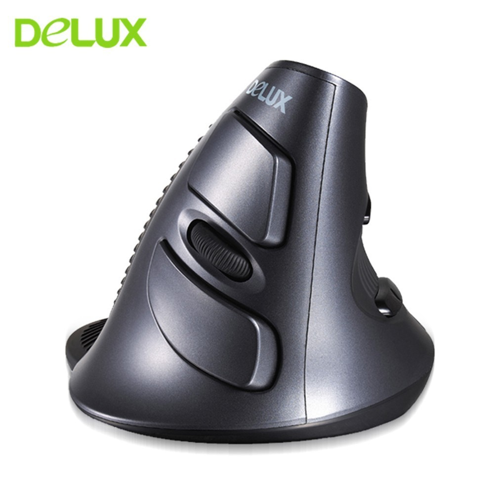 Delux Wireless Vertical Mouse Ergonomic M618 6D Optical Upright Mice 800-1200-1600DPI Adjustable Mause With Removable Palm Rest