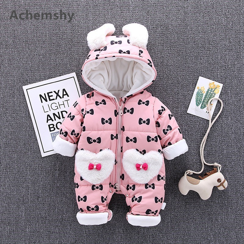 Winter New Baby Velvet Thickening Clothes Infant Printed Bow Hooded Romper Kids Girls Outwear Warm Jumpsuit