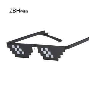 Glasses 8 Bit MLG Pixelated Sunglasses Women Brand Thug Life Party Eyeglasses Ladies Vintage Female Eyewear(China)
