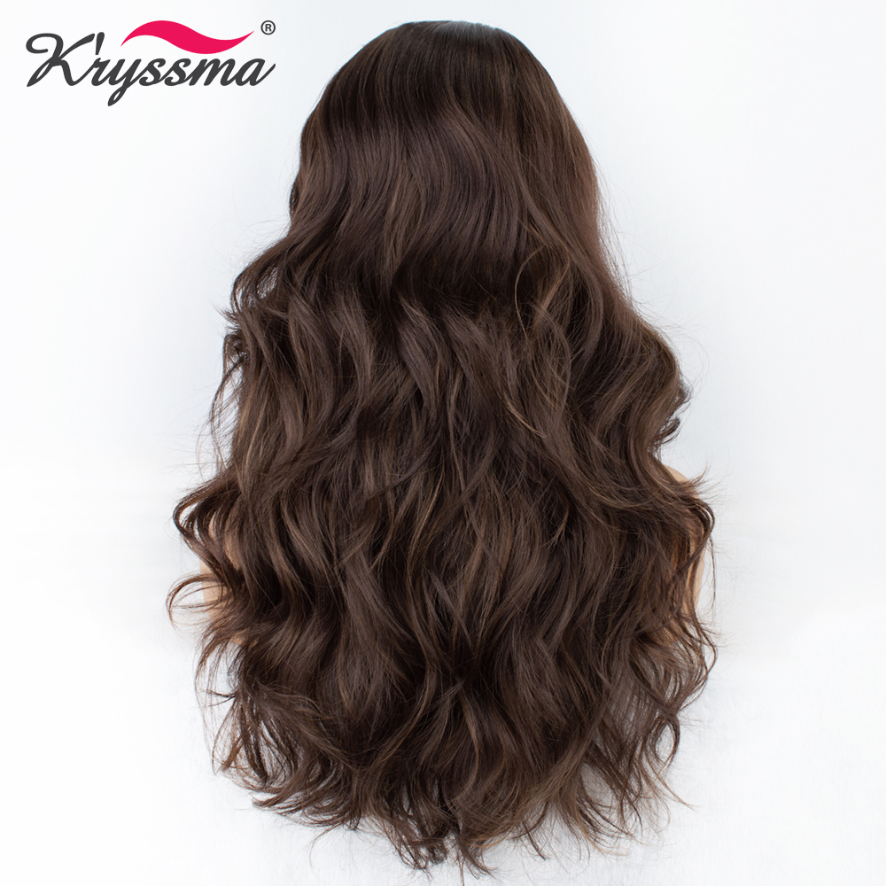 Kryssma Synthetic Wig Brown Wig For Women Long Wavy Mixed Highlight Deep Parting Wigs For Women Natural Hairline Hair Cosplay