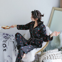 цена на Women Comfortable Silk Pajama Set Girl Print Pyjama Set Long Sleeve Sleepwear Suit Women Nightwear Sets