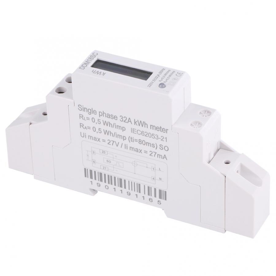 1P 220В/230В ЖК-цифровой дисплей однофазный din-рейка потребление электроэнергии счетчик энергии цифровой wattmeter 50/60 Гц