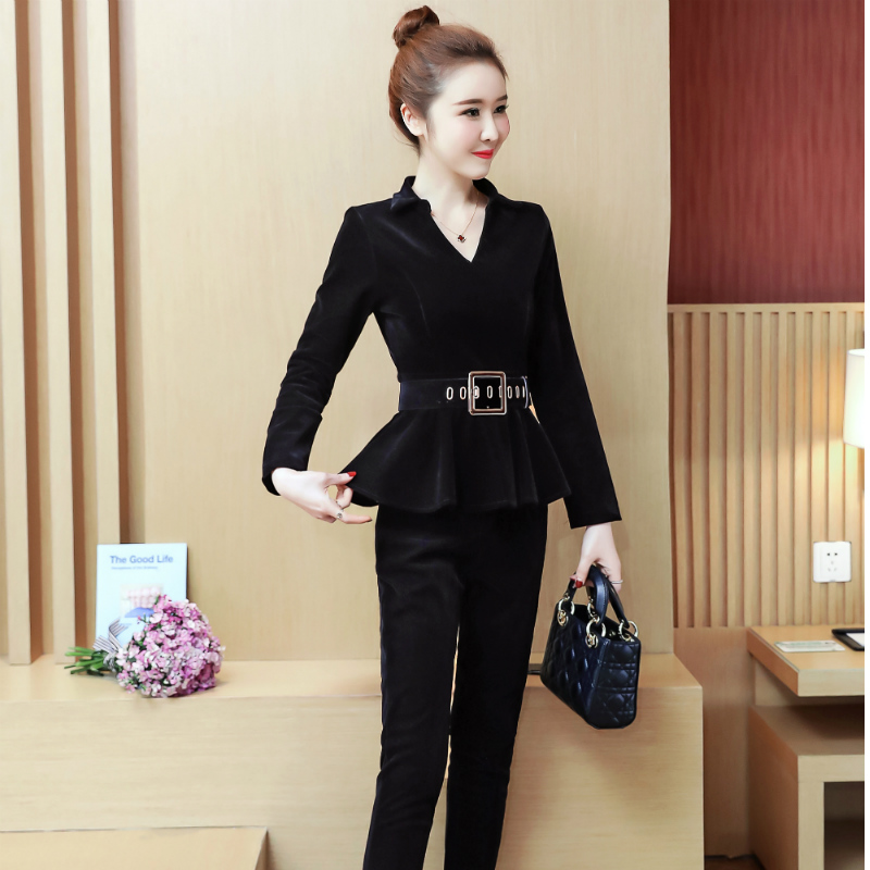 New 2019 Spring Korean Fashion Suit Two Piece Clothing Set Professional Office Women V Neck Top Belt Pants Outfit M XXL in Women 39 s Sets from Women 39 s Clothing