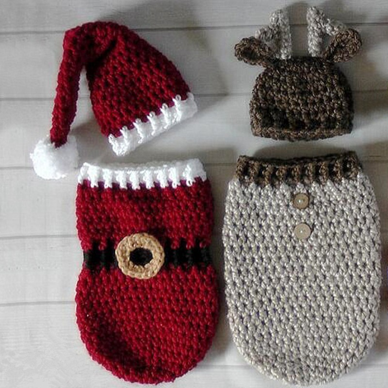Newborn Baby Photography Props Handmade Crocheted Christmas Hat+Sleeping Bag Set Infant Christmas Cap Clothing Shoot Accessories
