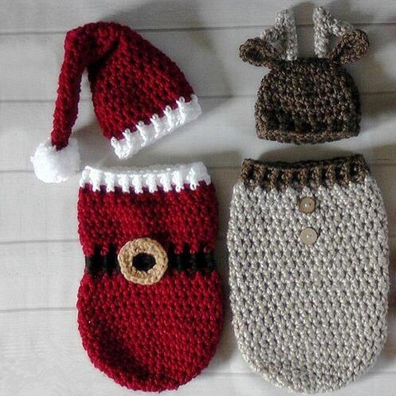 Newborn Baby Photography Props Handmade Crocheted Christmas Hat+Sleeping Bag Set Infant Christmas Cap Clothing Shoot Accessories