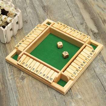 Wooden Traditional With 2 Dices 10 Numbers Four Sided Pub Bar Board Dice Game For Kids Family Approx 220x220x33mm