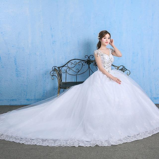 Luxury Plus Size Wedding Dress Elegant Lace Appliques V-neck Beading Wedding Gowns 2020 Crystal Lace Up White Vestido De Noiva 5