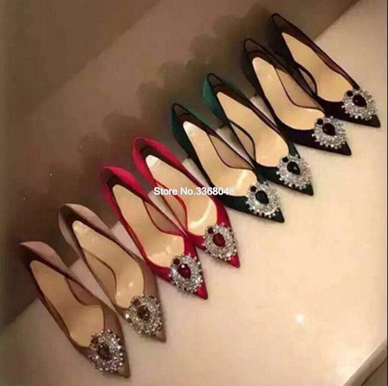 Sexy bout pointu chaussures de luxe femmes Designers grand diamant gemmes décor pompes peu profondes mince talons hauts femme robe de mariée chaussures