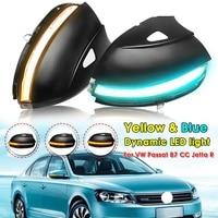 2Pcs For VW Passat B7 CC Jetta R Dynamic Blinker LED Turn Signal Semi smoke For Volkswagen Turn Signal Side Mirror Light