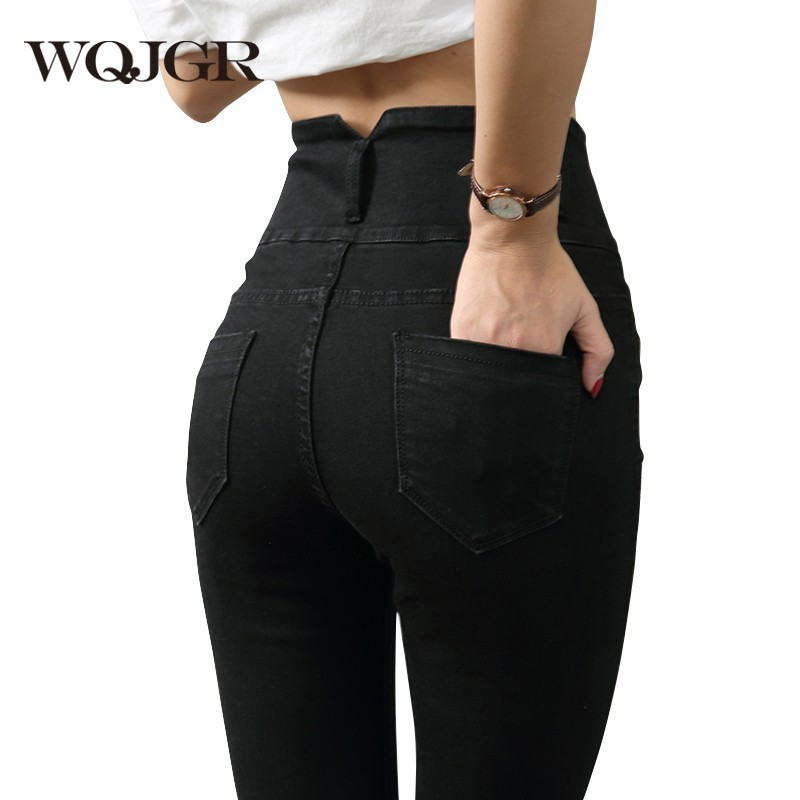 WQJGR High Waist Jeans Woman 2018 Spring And Autumn Elastic Increase Black And G