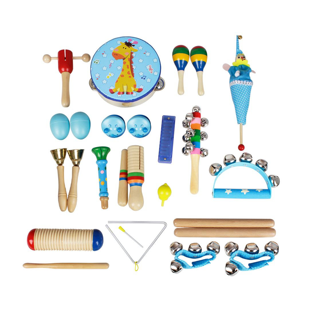 22pce/set  Musical Instruments Set Children Early Childhood Music Percussion Toy Combination Kindergarten Teaching Aids