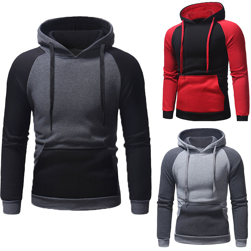 Autumn Winter Mens Stitching Long Sleeve Hooded Sweater Fashion Hoodies Hoodie Men Casual Tops