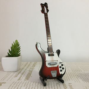 Image 1 - 20センチメートルミニチュア木製エレキベースギターモデル1/6アクションフィギュアアクセサリー #4