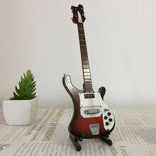 20cm 미니어처 나무 일렉트릭베이스 기타 모델 1/6 액션 피규어 액세서리 #4