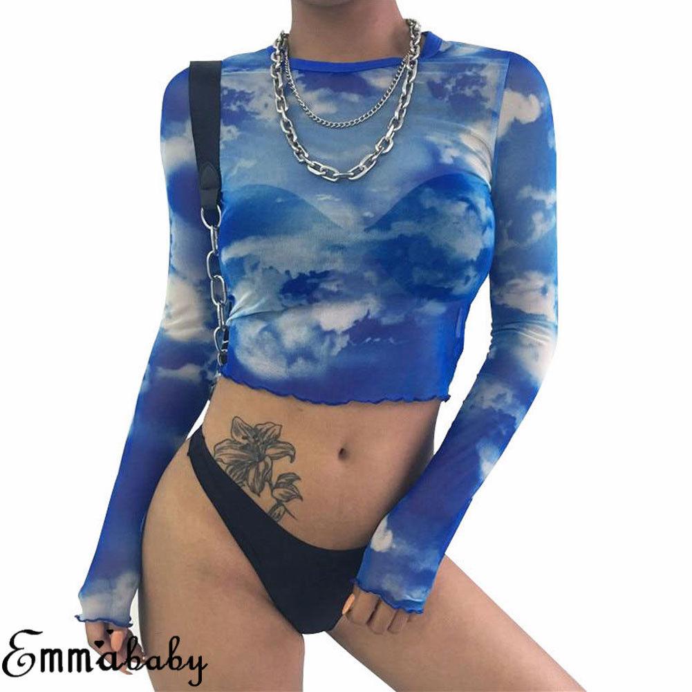 Fashion Sexy Women Ladies See-through Sheer Mesh Long Sleeve T Shirt Summer Casual Slim Print Fishnet Perspective Crop Top Blue see through angel shirt