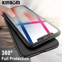 KINBOM 360 Full Protection Phone Case For IPhone 6 6s 7 8 Plus Case 5 5S SE Cover Glass For IPhone XS MAX XR X Coque Case цена и фото