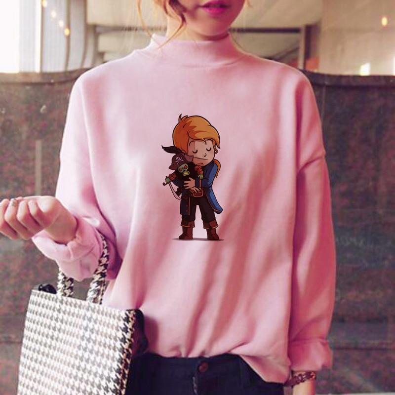 Women's Clothing Fashion Cartoon Animal Monkey Print Bts Hoodie Spring 2019 Autumn Women Clothes Sweatshirt Plus Size Goth Tops Gray Hoodies Y112