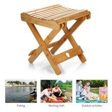 Bambou naturel Portable chaise pliante pêche BBQ tabouret pliant chaise pliante Camping chaise pliante en plein air randonnée siège