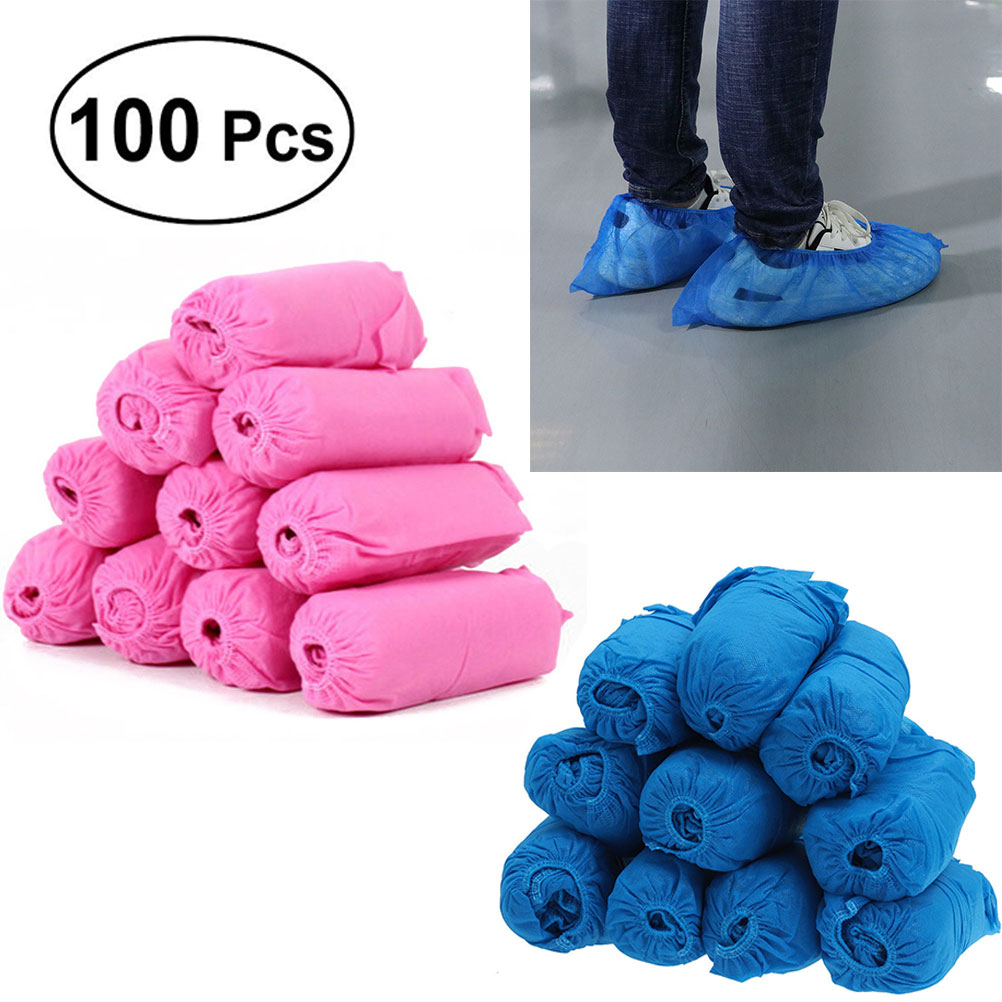 100pcs Non-Woven Fabric Disposable Shoes Covers Elastic Band Breathable Dustproof Thickened Anti-Slip Cover For Shoes