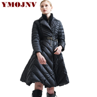 YMOJNV Womens Down Jackets 2019 Brands Fake Two White Duck Down Warm Long Winter Down Jacket Women Coats parkas mujer invierno