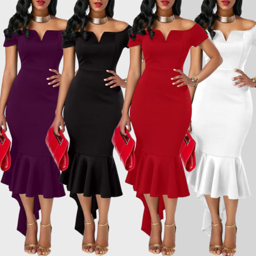 2019 Women Evening Party Club Wear Short Sleeve Off Shoulder Ruffle Asymmetric Midi Dress 2