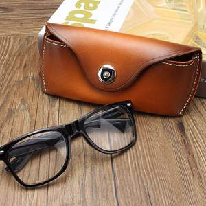 Image 3 - Cow Leather Eye Glasses Bag for Eyeglass High Quality Handmade Causal Jeans Belt Glasses Case Sunglasses Protector Case Black