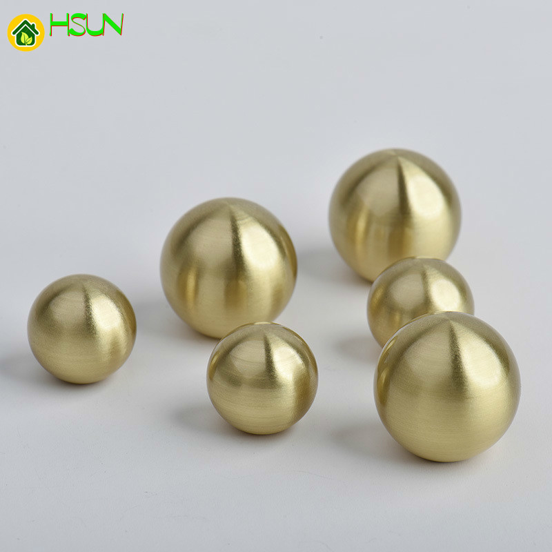 1 Pc Gold Round Shape Solid Brass Cabinet Knobs And