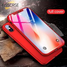 KISSCASE 360 Full Coverage Phone Case for Xiaomi S2 3S 4A 4X 5 6Pro Note 3 4 5 6 7 Tempered Glass Case For Redmi Mi 5X 6X 8 Lite(China)