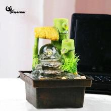 Mini Fountain Waterscape Display Home Decor Green Bamboo Living Room Office Desk Beautiful Ornaments