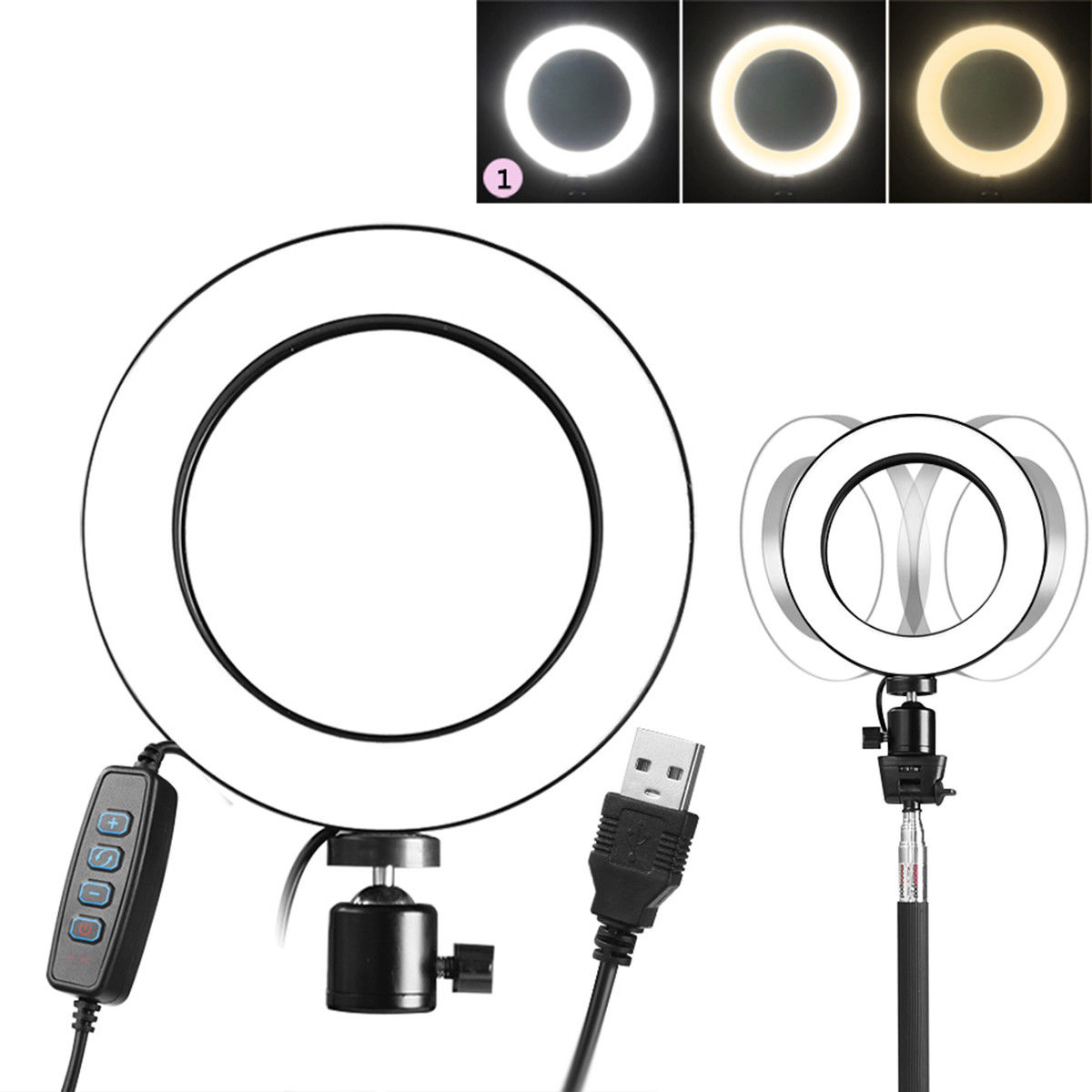LED 3 Modes 40W 5500K Dimmable Studio Camera Ring Light Photo Phone Video Black 14.5CM