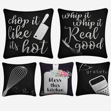 Bless The Kitchen Printable Artwork Decorative Cotton Linen Cushion Cover 45x45 cm For Sofa Chair Pillowcase Home Decor Almofada цены