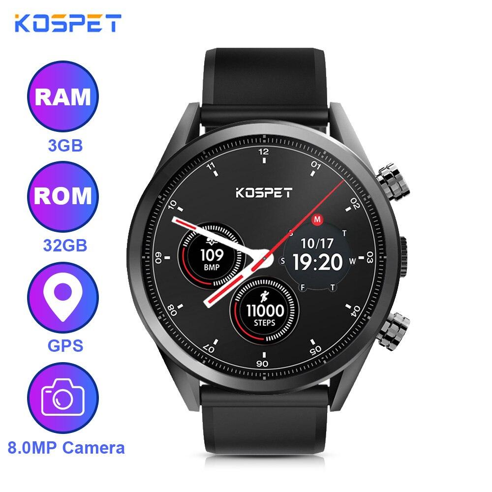 Kospet montre intelligente Hope 4G Smartwatch MTK6739 1.39 pouces Android 7.1 Quad Core 3 GB RAM 32 GB ROM 8.0MP caméra SmartWatch téléphone