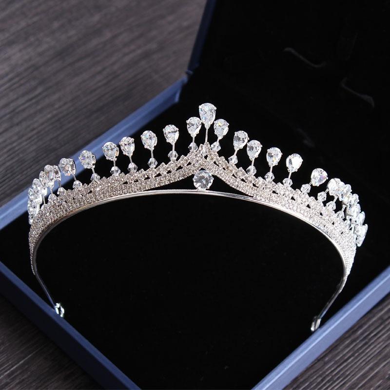 Rosebridalpark Neue Silber Vintage Königin Zirkonia Kristall Tiaras Und Kronen Stirnband Für Frauen Braut Hochzeit Kleid Haar Schmuck