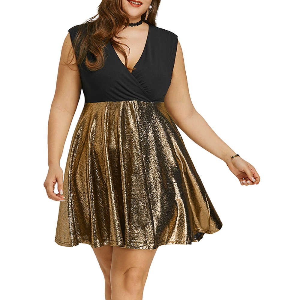 Wipalo Women Plus Size Glitter Surplice Party Dress Sleeveless Plunging Neck Patchwork Summer Sexy Club Mini Dress 5XL Vestidos