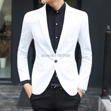 White Single Man Blazer for Boyfriend Prom Stage Clothes Sim Fit Weddng Men Tops Suit Jacket Casual Fashon Style Coat
