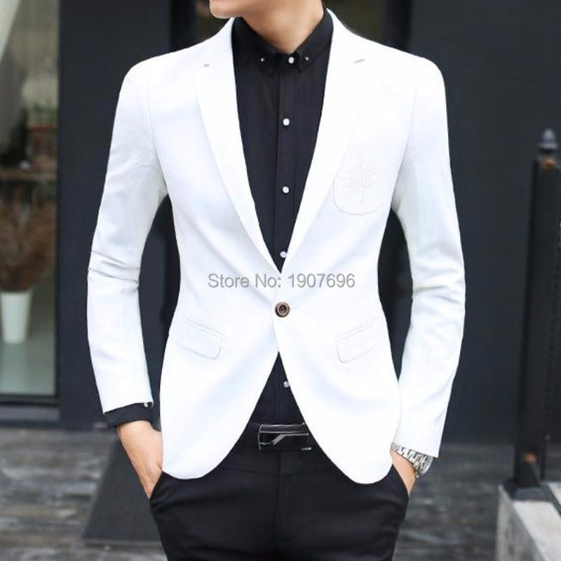 White Single Man Blazer For Prom Stage Clothes Sim Fit Notched Lapel Weddng Men Tops Suit Jacket Casual Fashon Style