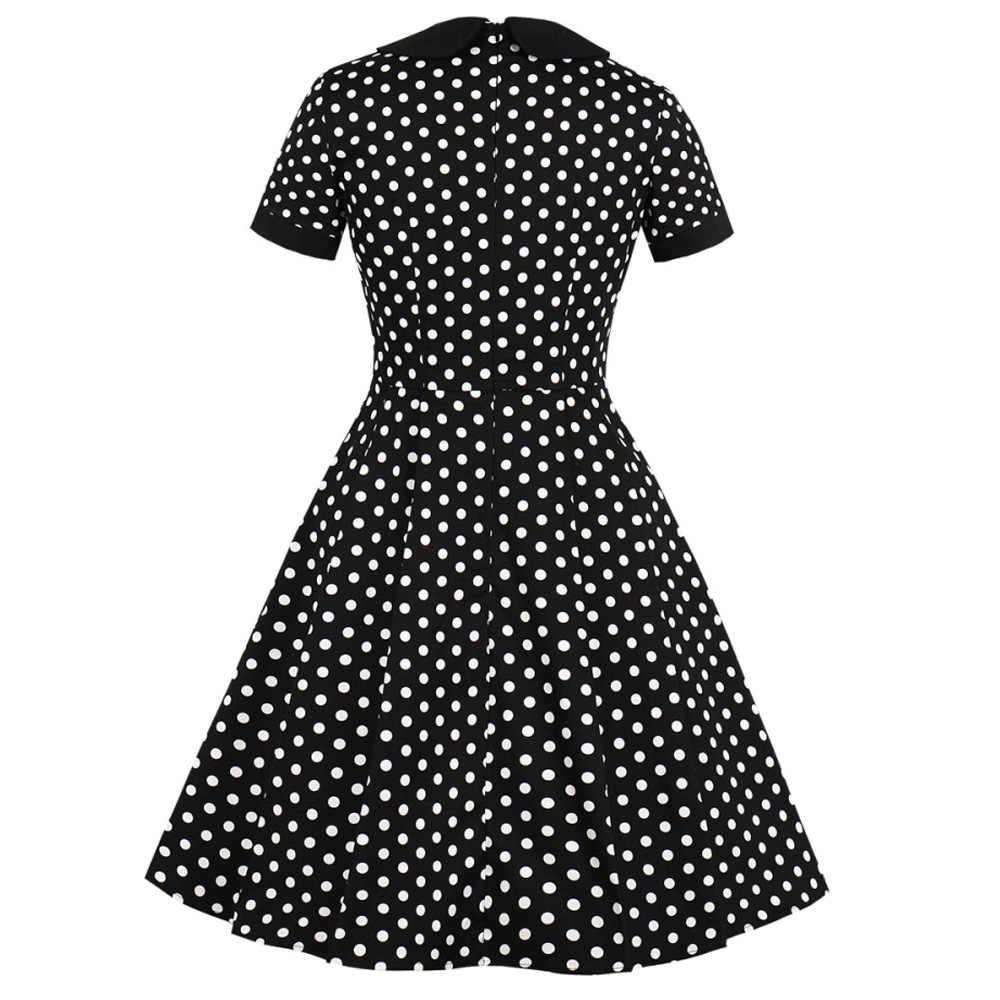 Kenancy Wanita Vintage Gaun Musim Panas Laple Lengan Pendek Pinup Ayunan Dot Cetak Gaun Pesta Rockabilly Saku Retro Gaun