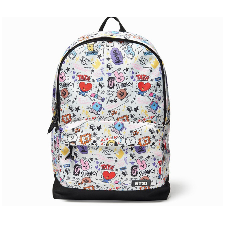 Kpop BTS Bangtan Boys Cartoon BT21 The Same Canvas Backpack Students Bag CHIMMY COOKY TATA Boys Girls Travel Laptop Bag