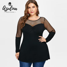 cff1fc58 AZULINA Plus Size Fishnet Panel Tunic Tee Women T-Shirt Autumn O Neck Long Sleeve  T Shirt Ladies Tops Casual Shirt Tees Clothing