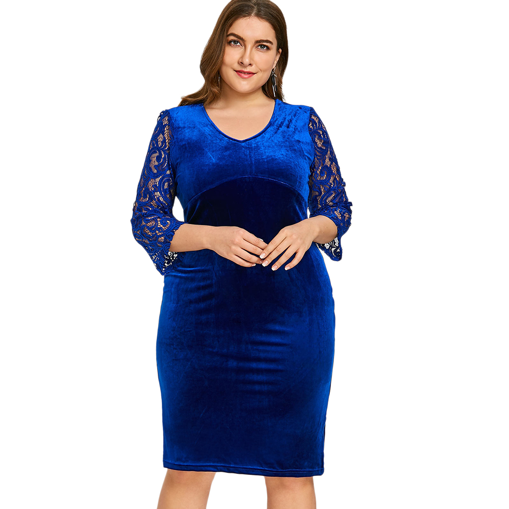 Wipalo V Neck Lace Sleeve Plus Size Knee Length Velvet Dress Knee Length  Solid Bodycon Evening Party Dress Big Size 6XL Vestidos - TripplePanda