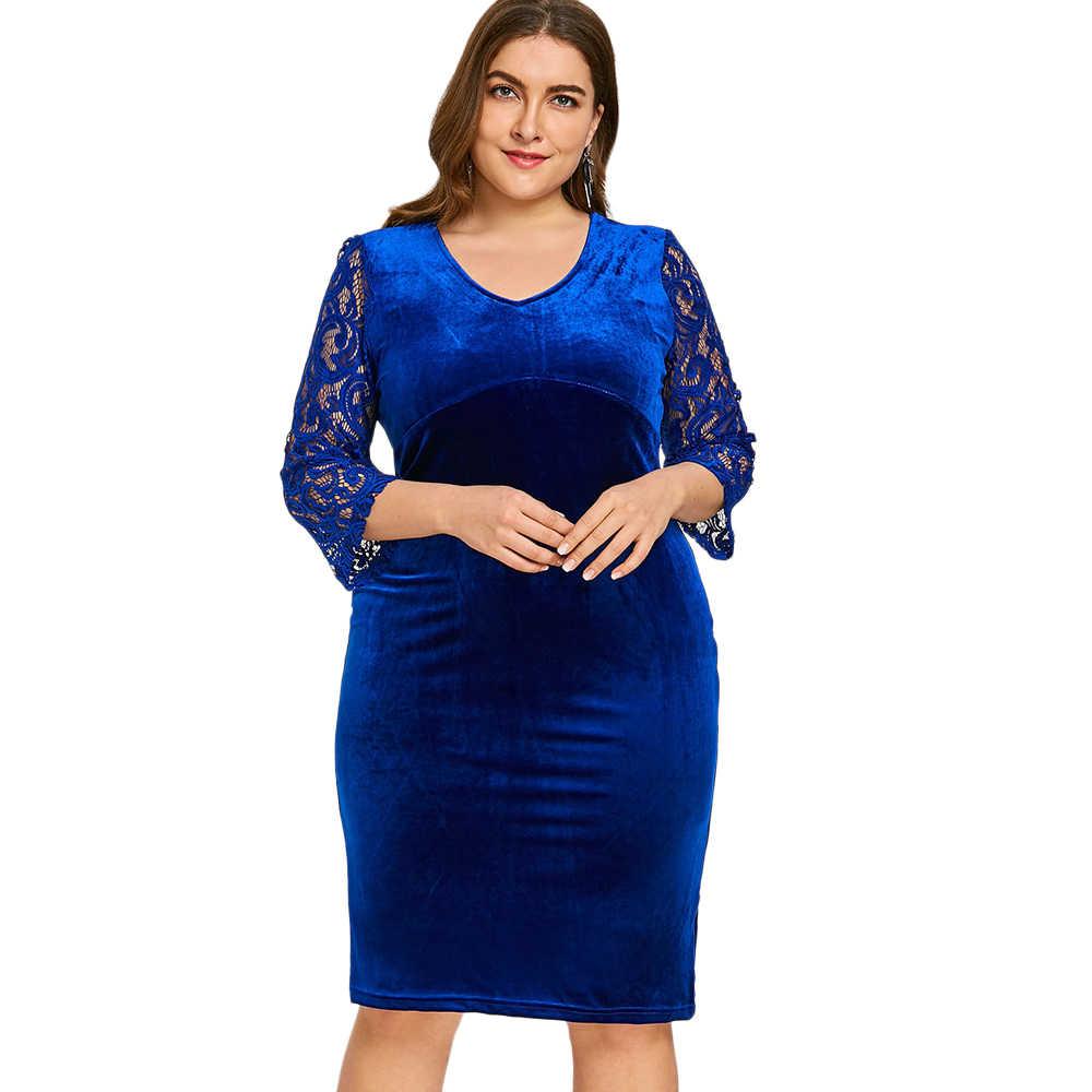 Wipalo V образным вырезом кружево рукавом плюс размеры по колено вельветовое платье длиной до колена Bodycon Вечеринка платье большой размеры 6XL Vestidos