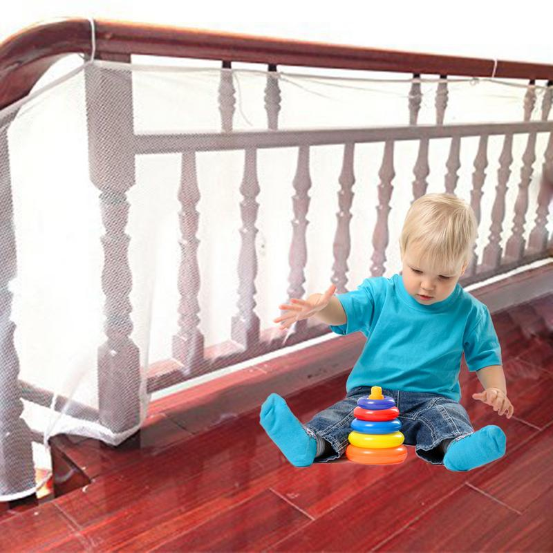 3 Meters Thickened Safe Rail 10ft L X 3ft H Outdoor Balcony & Stairway Deck Railing Safety Net Pearl Color Banister Stair Net