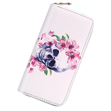 Купить с кэшбэком New Fashion PU Leather Women Wallets Personality Punk Skeletons Kito Hit Color Rivet Long Clutches Change Purses Card Holders