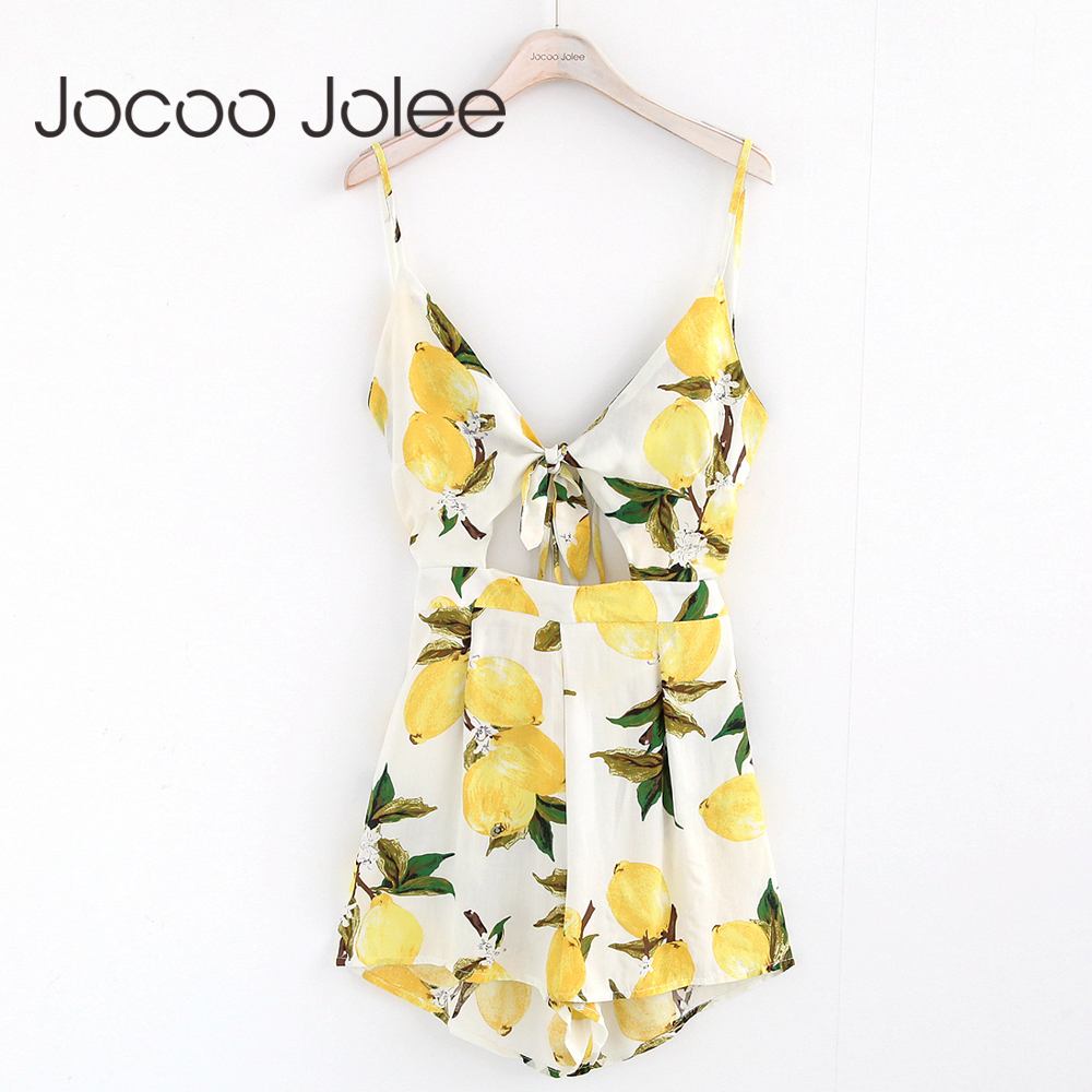 Jocoo Jolee Sexy Deep V-Neck Women   Jumpsuit   Floral Print Lace up Summer Women Playsuit High Waist Romper   Jumpsuit   For Women 2018