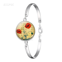Poppy Flower Cabochon Glass Charm Bracelet Jewelry Silver Plated Bangle Women Accessories Gift