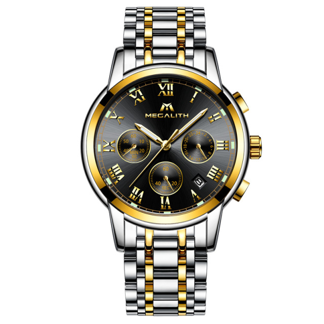 MEGALITH Top Brand Luxury Watch Men Waterproof Quartz Wrist For Men Stainless Steel Chronograph Luminous Business Casual Watches